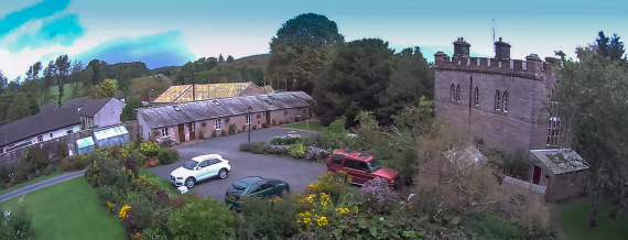 Aerial View of the House and Lodges